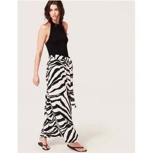 LOFT NWT Zebra Print Backless Halter Maxi Dress